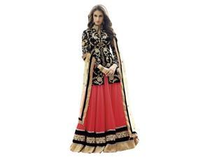 Triveni Gleaming Red Colored Embroidered Faux Georgette Lehenga Choli 88001