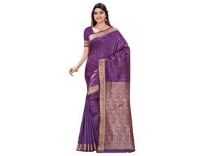 Triveni Evoking Purple Colored Zari Worked Art Silk Jacquard Saree
