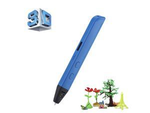 3d printer pen - BANGWEIER Professional Printing 3D Pen with OLED Display - ABS Filament, Different Printing Speeds + Temperatures, 6mm Nozzle (Blue)