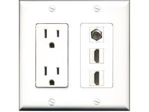 RiteAV - 15 Amp Power Outlet 2 Port HDMI 1 Port Coax Decora Wall Plate