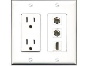 RiteAV - 15 Amp Power Outlet 1 Port HDMI 2 Port Coax Decora Wall Plate