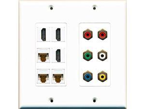 RiteAV 3 Hdmi 3 Cat6 RCA Composite and Component Video Stereo Wall Plate White