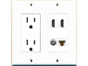 RiteAV Power Outlet 2 HDMI White Coax Cat6 Wall Plate White