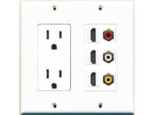 RiteAV Power Outlet 3 HDMI White RCA Red RCA White RCA Yellow Wall Plate White