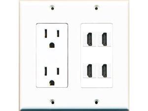RiteAV Power Outlet 4 HDMI White Wall Plate White