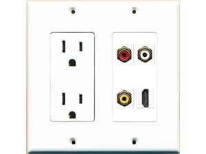 RiteAV Power Outlet HDMI White RCA Red RCA White RCA Yellow Wall Plate White