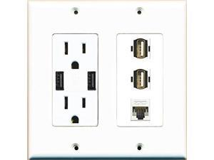 RiteAV Power Outlet 2 USB Charger Cat5E 2 USB A-A Wall Plate White