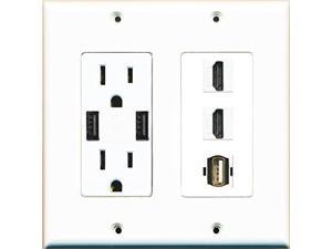 RiteAV Power Outlet 2 USB Charger 2 HDMI White USB A-A Wall Plate White