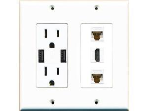 RiteAV Power Outlet 2 USB Charger HDMI White 2 Cat6 Wall Plate White