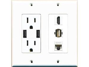 RiteAV Power Outlet 2 USB Charger HDMI White Cat5E USB A-A Wall Plate White