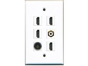 RiteAV - 4 HDMI 1 Port RCA White 1 Port Toslink Wall Plate