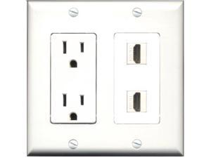 RiteAV - 15 Amp Power Outlet 2 Port HDMI Decora Type Wall Plate White