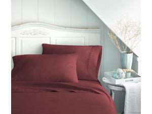 Merit Linens Luxury Double Brushed 4 Piece Bed Sheet Set - King Burgundy