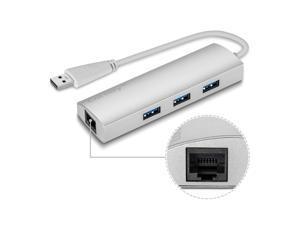 Coredy Aluminum USB 3.0 Hub Superspeed 3 Port with RJ45 10/100/1000 Gigabit Ethernet Converter