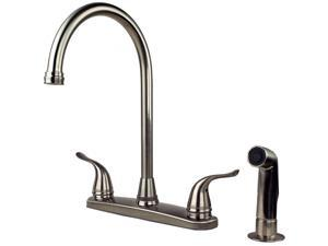 Builders Shoppe 1210SS Two Handle High Arc Kitchen Faucet with Spray, Stainless Steel Finish