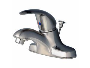 Builders Shoppe 2041BN Single Handle Centerset Lavatory Faucet with Pop-Up Drain - Brushed Nickel Finish