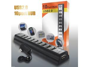 10 Port High Speed USB 2.0 Hub Expansion + Power Adapter for Notebook PC