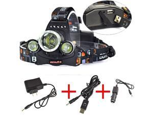 30W 8000LM CREE XML L2 LED POWER Headlamp HeadLight LAMP with USB&AC&Car Charger