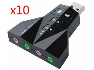 10pcs External 7.1 Channel USB 3D Sound Card Audio Laptop PC Computer Macbook Adapter