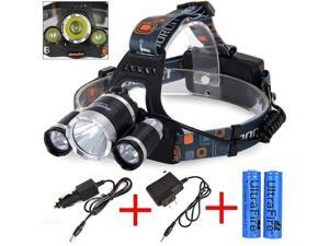 CREE 8000 Lumen Headlamp XM-L 3 x T6 LED Headlight 18650 Light Charger Battery