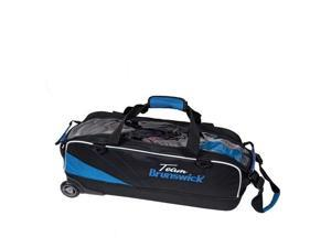 Brunswick Team Brunswick Black/Cobalt Blue Slim Triple 3 Ball Tote Bowling Bag