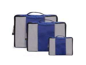 Blue Travel Luggage Organizer Bags Packing Cubes Organizers - 3pc Set