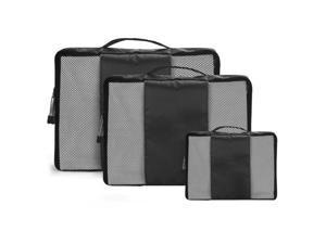 Black Travel Luggage Organizer Bags Packing Cubes Organizers - 3pc Set