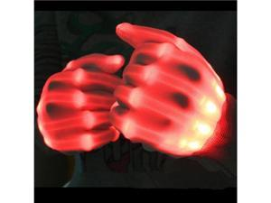 TinkSky Pair of LED Lighting Gloves Flashing Fingers Rave Gloves Colorful Gloves for Light Show (Red)