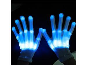 TinkSky Pair of LED Lighting Gloves Flashing Fingers Rave Gloves Colorful Gloves for Light Show (Blue)