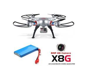 Syma X8g 2.4g 4ch 6-axis 8mp Wired Hd Camera Headless Mode Rc Drone Quadcopter+ Extra 1 Battery