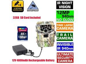 Sg-880v 2inch Lcd Time Lapse Ip66 940nm Hd 12mp 1080P GPS 2 /3/ 4X Digital Zoom Support WIFI SD Card Infrared Trail Hunting Scouting Trail Camera Ir Led Night  (Add 32gb Carrd and Battery)
