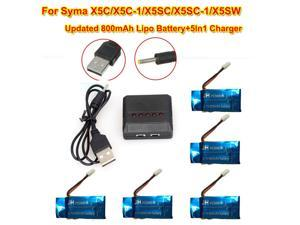 5Pcs 3.7V 800mAh Lipo Battery+ 1Pcs 5 In 1 Charger Knit For Syma X5C X5C-1 X5SW X5SC X5SC-1 Quadcopter