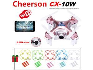 Cheerson CX-10W Mini Wifi FPV 0.3MP Cam LED 3D Flip 2.4G 4CH 6 Axis RC Drone Quadcopter Helicopter (Gold Rose) +5pcs Protection Guard Cove +20pcs Propeller Blades