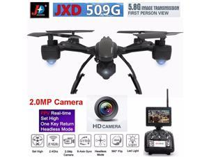 JXD 509G FPV 2.4G 4CH 6 Axis RTW/2.0MP Camera 5.8G HD Monitor  360 Degree Flips One Key Return RC Quadcopter Drone  Helicopter RC AirPlane Toys With Extra 2pcs Battery + 4pcs Propeller Blades