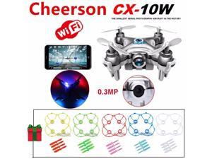 Cheerson CX-10W Mini Wifi FPV 0.3MP Cam LED 3D Flip 2.4G 4CH 6 Axis RC Drone Quadcopter Helicopter ( Silver ) +5pcs Protection Guard Cove +20pcs Propeller Blades