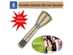 TUXUN K068 Portable Karaoke Microphone Full Metal K Song Microphone +Speaker Bluetooth 3.0 Home/Party KTV Player ( Gold )