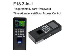 F18 3 in 1 Time Attandance Manager Fingerprint Reader Door Access Lock Control TCP/IP T9 Input