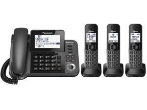 Link2Cell Bluetooth® Corded / Cordless Phone and Answering Machine with 3 Handsets KX-TGF383M