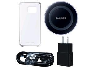 Samsung Wireless Charging Pad w/ Protective Cover Clear/Silver Bundle For Galaxy S6 Edge - Black