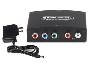 HDMI to 5RCA Component RGB YPbPr Video + R/L Audio Converter, Support 165MHz/1.65Gbps per channel(6.75Gbps all channel) bandwidth for HDMI in, &Analogue Video out up to UXGA and 1080P with 10-bit DAC