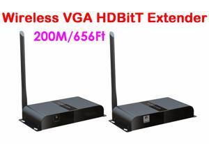 656Ft/200M, HDbitT VGA over IP wireless Extender Converter with Audio (1*Transmitter+1*Receiver) 1080P, Can supports 1 transmitter to 1~3 receivers