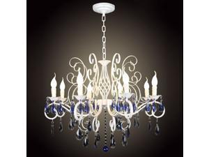 "32"" Mediterranean Blue Crystal Iron Pendant Lamp European Living Room Restaurant Fixture Study Room Hanging Light Chandelier"