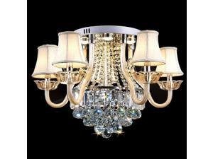 Luxury 5 Lights Crystal Living Room Ceiling Lights Fixtures European Fabric Restaurant Ceiling Lamps Led Study Room Chandelier