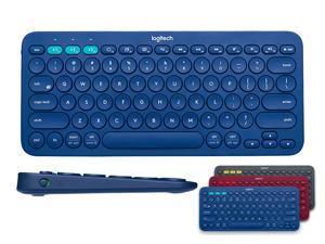 Logitech K380 Multi-Device Bluetooth Keyboard for Windows, Mac, Chrome OS, Android, iOS, Apple TV-Black/Blue/Red