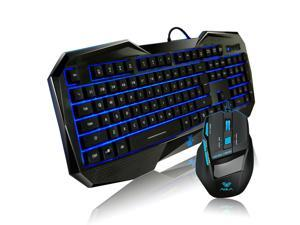 AULA BEFIRE KILLING THE SOUL 104 Keys 6 Function Keys 2000DPI 7 Buttoms USB Wired Blue LED Backlit Professional Pro Gaming Game Keyboard and Mouse Combo