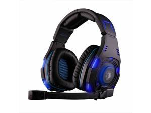 SADES SA-907 USB Wired Deep Bass 7.1 Surround Sound Glittering Omnidirectional Professional PC Gaming Headset Headphone with Microphone - Black/Blue