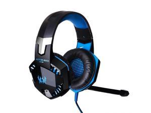KOTION EACH G2000 Top Quality 50mm Drivers Wired Gaming Headphones with Mic for PC Computer Headset Earphone Stereo Bass LED Light & Noise Isolation-Black/Blue
