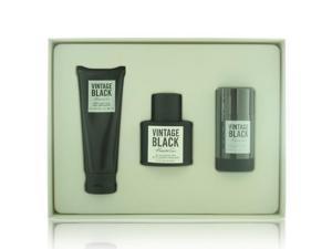 Vintage Black By Kenneth Cole - 3 PIECE GIFT SET - 3.4 OZ EAU DE TOILETTE SPRAY, 3.4 OZ AFTER SHAVE BALM, 2.6 OZ ALCOHOL FREE DEODORANT