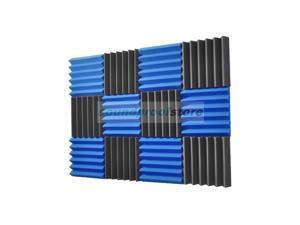 Soundproof Store, 2x12x12-12PK Acoustic Wedge Soundproofing Studio Foam, BLUE/CHARCOAL