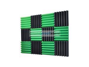 2x12x12-12PK GREEN/CHARCOAL Acoustic Wedge Soundproofing Studio Foam